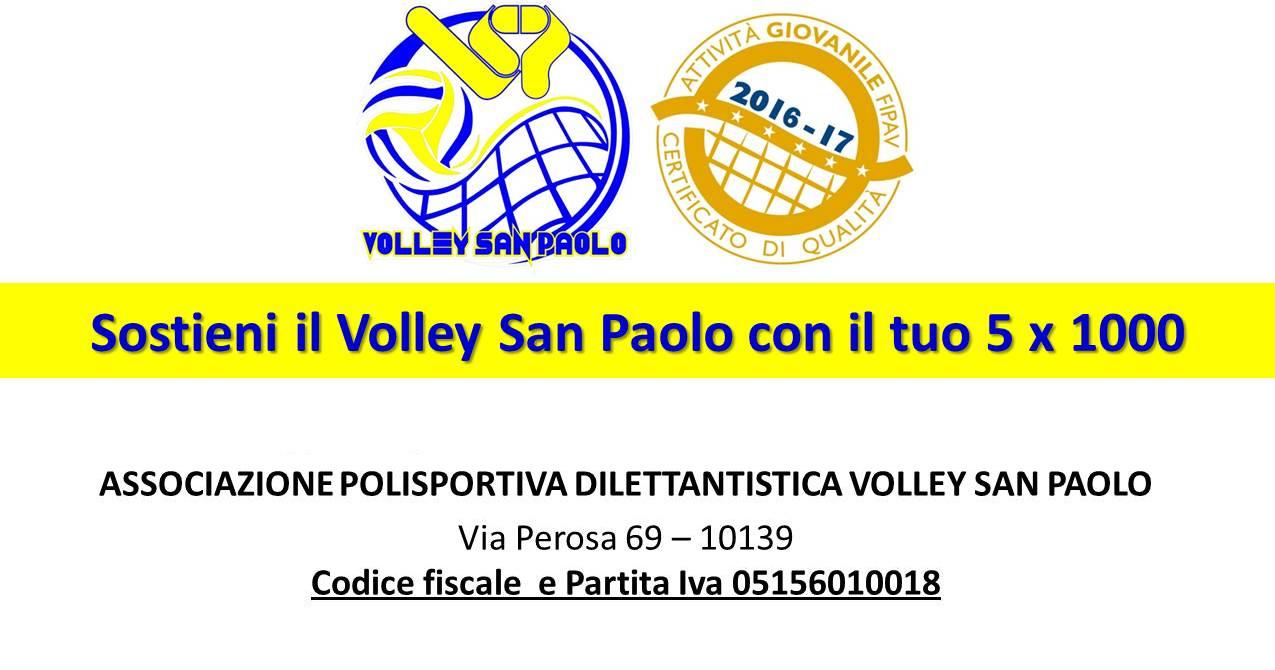 Sostieni il Volley San Paolo con l'8x1000 e il 5x1000